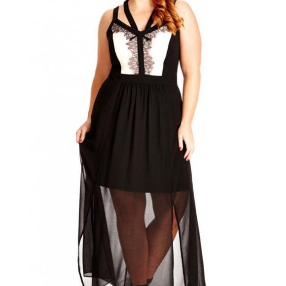 f31f440891aee City Chic Black   Pink Maxi Lace Dress Size 20 NWT